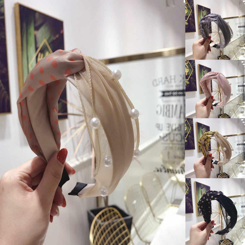Mesh Lace Fabric Women's Headband Dot Knot Hair Accessories Hairband Head  pearl Band Ornament Band Hoop Sweet Girls Turban