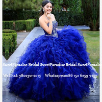 Cascading Ruffles Ball Gown Quinceanera Dresses 2020 Royal Blue Organza Silver Beads Vestidos Sweet 16 Dress Pageant For Girls