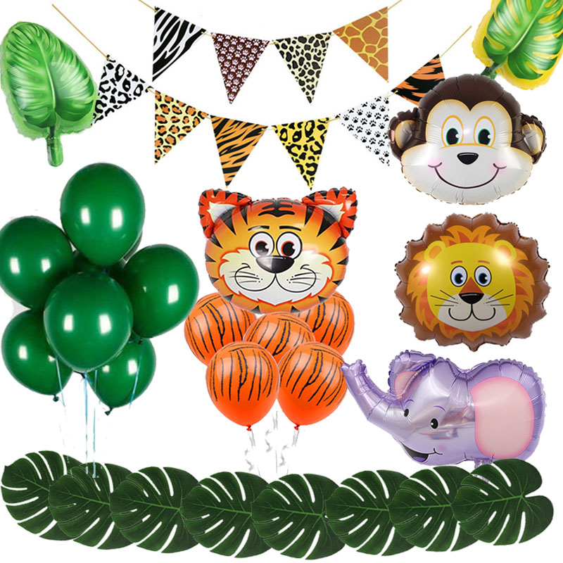 Jungle Theme Party Forest Safari Zoo Animal Footprint Balloons Tiger Lion Foil Ballon DIY Baby Shower Kids Birthday Decor Globos
