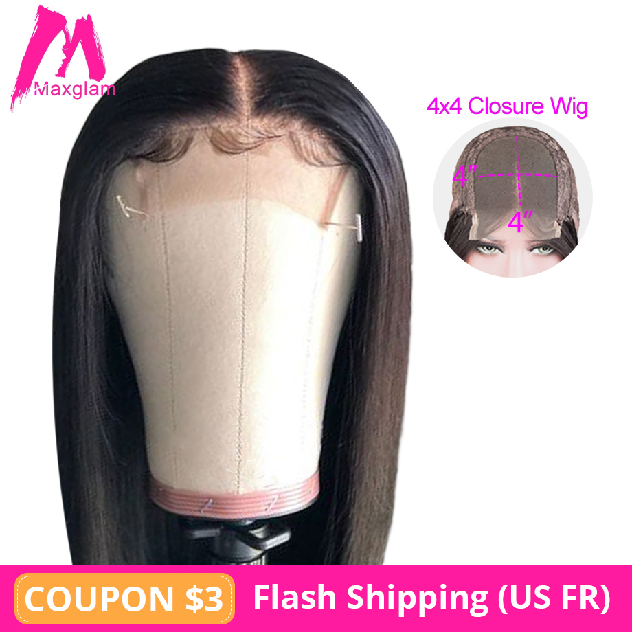 Lace Front Human Hair Wigs 4x4 Closure Wig Natural Straight Short Bob Wig Brazilian Remy Pre Plucked Long For Black Women 130%