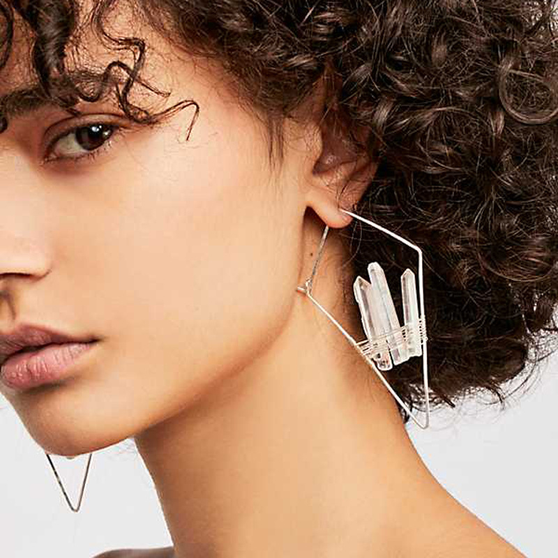 wing yuk tak Irregular Natural Stone Hoop Earrings For Women Fashion Vintage Hiphop Party Statement