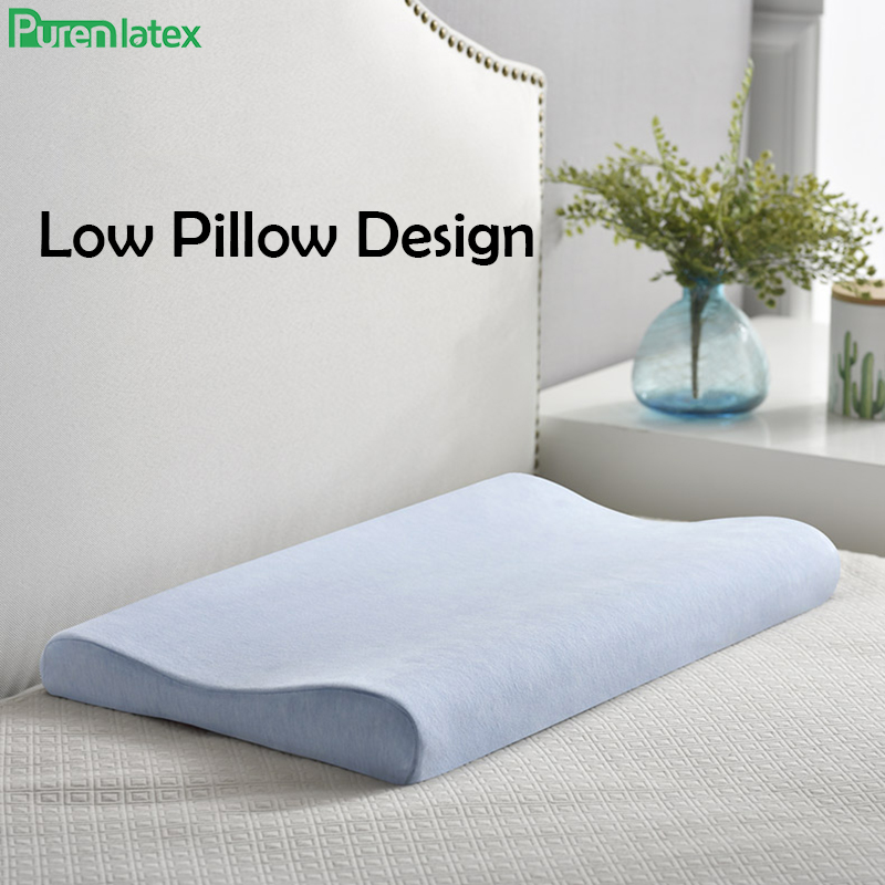 PurenLatex Memory Foam Pillow Soft Pillow Slow Rebound Neck Spine Protection Thin Pillow for Dutch wife Children Teenager Pillow
