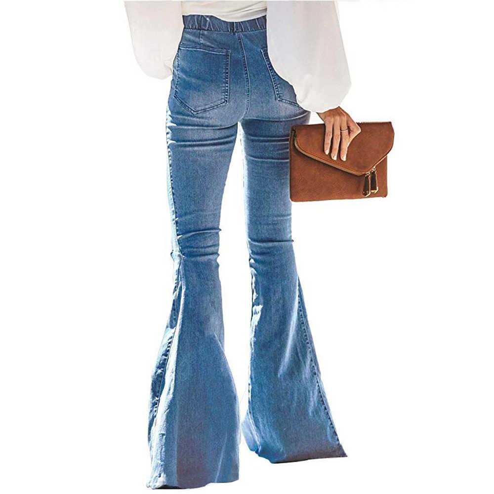 Risthy Pantalones Acampanados Mujer Mujer Pantalones Vaqueros Campanas De Campana Cintura Alta Jeans De Mujer Elastico Con Arco Retro Flared Jeans Vaqueros Ropa