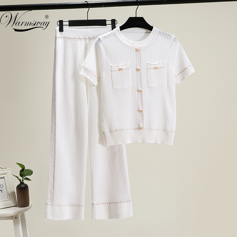 Runway Design Thin Hollow Out T-Shirt Women Bright Silk Knitted Summer Short Sleeve Casual Tops + Pants Two-piece Set CY-167