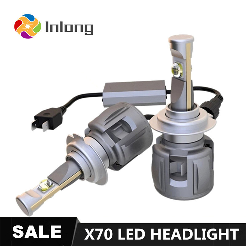 Inlong X70 LED Ampoule Avec LE CREE H4 LED H7 D4S H1 H8 H9 D2S H11 9005 D3S 9006 HB4 HB3 D1S Voiture Phares Ampoules 6000K Phares Antibrouillard 12V
