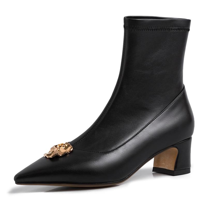 Fedonas 여성 우아한 지적 발가락 정품 가죽 중반 부츠 부츠 가을 겨울 양말 부츠 하이힐 금속 새로운 댄스 파티 여성-에서미드 카프 부츠부터 신발 의  그룹 2