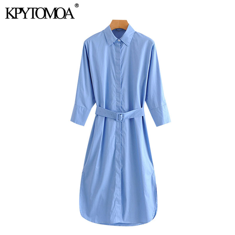 KPYTOMOA Women 2020 Chic Fashion With Belt Office Wear Loose Midi Dress Vintage Three Quarter Sleeve Side Vents Female Dresses