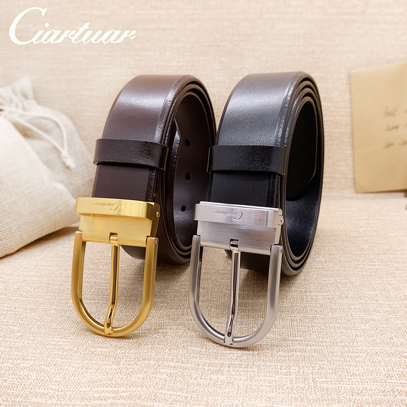 2020 Ciartuar Fashion Belt For Men Belt High Quality Leather Cowskin Trousers Suit 3.4cm Buckle Gold Sliver Buckle Free Shipping
