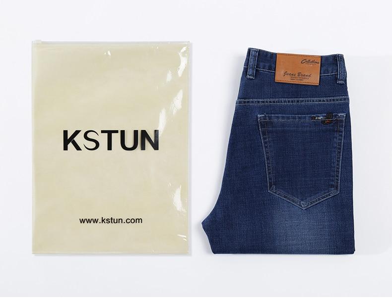 KSTUN Blue Jeans Men 2019 Autumn Straight Elastic Jeans Fashion Business Classic Style Work Trousers Pants Men Cotton Jean Homme 19