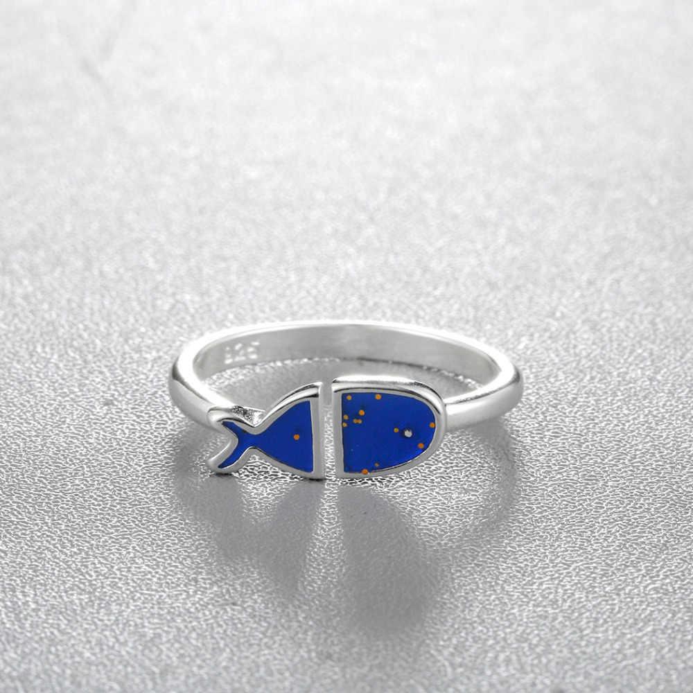 Adorável Blue Fish Anéis Mulheres Anel de Dedo de Prata de Animais Do Sexo Feminino Presente de Aniversário de Casamento Festa de Natal Jóias Meninas Da Praia Do Oceano