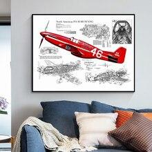 Винтажные постеры и принты WW2 P51 Mustang Fighter, домашний декор, Картина на холсте, настенное искусство, подарки для мальчиков, украшение гостиной