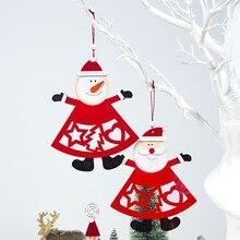 Wood Cutout Santa Claus Snowman Pendants Drop Ornaments Color Painted Christmas Festive Party Supplies недорого