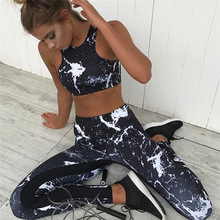 Yoga Set With Leggings Printed Clothes 2piece Sleeveless Sport Clothing Jogging Femme Jumpsuit Black Gym Women
