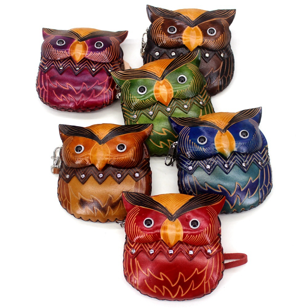 Genuine Leather Animal Purse Women's Vintage Cowhide Handmade Creative Leather Sculpture Owl Coin Bag Students Carrying Bag