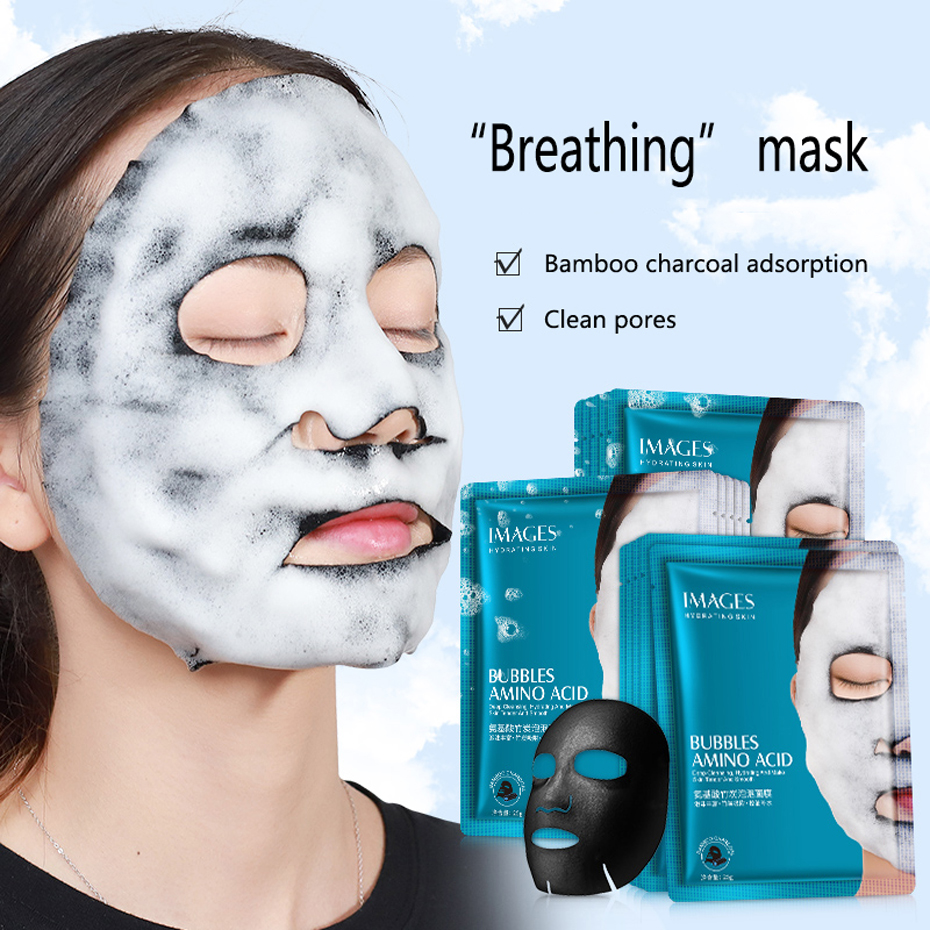 Images 1pc Amino Acid Bubble Mask Deep Pore Clean Bamboo Charcoal Black Face