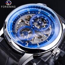 Forsining Blue Skeleton Dial Automatic Watch Waterproof Blac