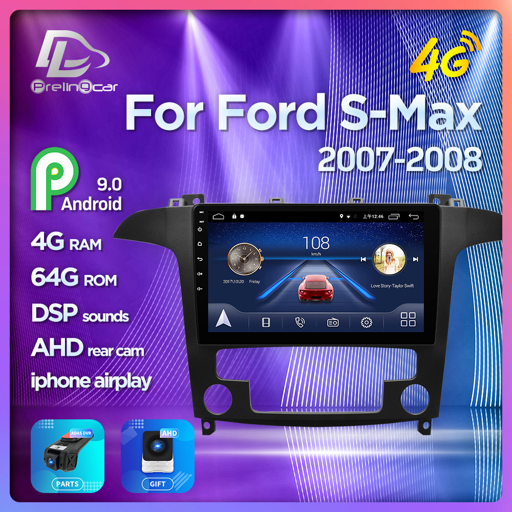 4G Lte Android 9.0 Car multimedia navigation system <font><b>GPS</b></font> player For <font><b>Ford</b></font> S-<font><b>Max</b></font> 2007 2008 years IPS screen Radio stereo image