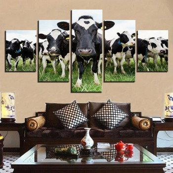Impresión HD de 5 piezas para lienzo, arte, lecheras/vacas, en la pintura...