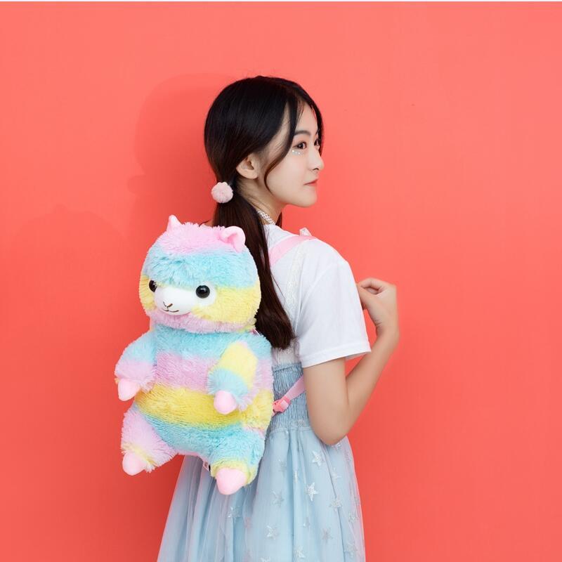 40cm Kawaii Alpaca Backpack Rainbow Alpaca Soft Shoulder Bag Children Kids Girls Gift Plush Doll Toy