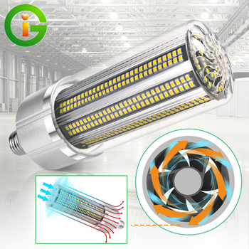AC100-277V 100W/150W/200W Super Bright Industrial Lighting E27 E40 LED Corn Bulb With Cooling Fan Led High Bay Garage Light