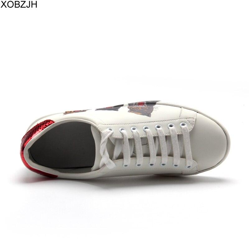 Chaussures de designer décontractées homme baskets de luxe hommes et femmes de haute qualité 2019 marque en cuir véritable mode sans lacet chaussure blanche pour hommes - 4