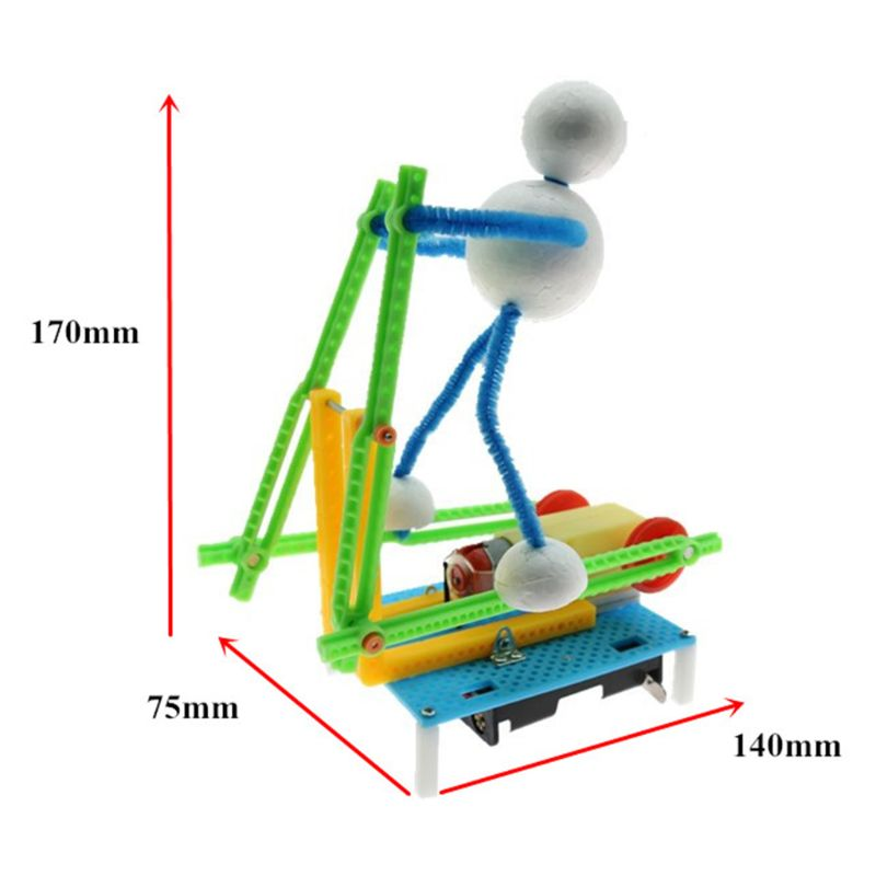 Electric Fitness Robot DIY Physical Science Experiment Kits Educational Creative Technology Invention Toy For Children Boy 634F