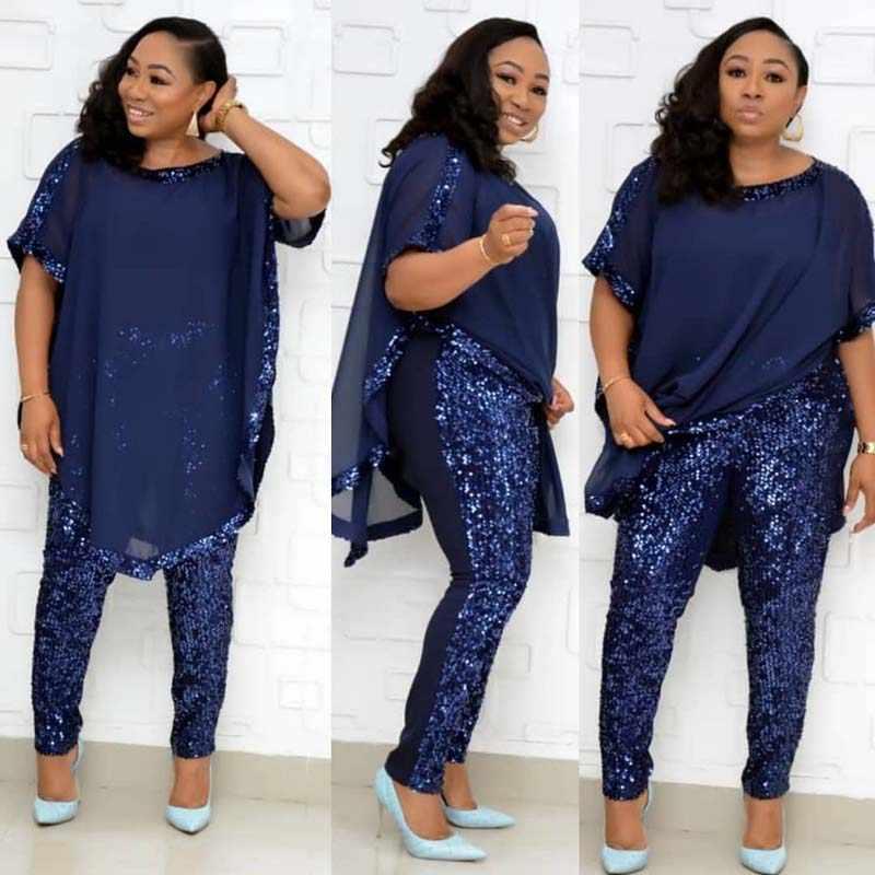שיפון פאייטים שתי חתיכה להגדיר נשים אפריקאי בגדים מזדמנים O-צוואר למעלה & פאייטים מכנסי עיפרון חליפת Tacksuit אפריקה Robe תלבושות