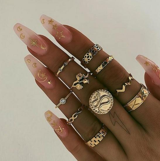 9 Pcs//Set Boho Crystal Snake Geometric Knuckle Ring Set Personality Jewelry New