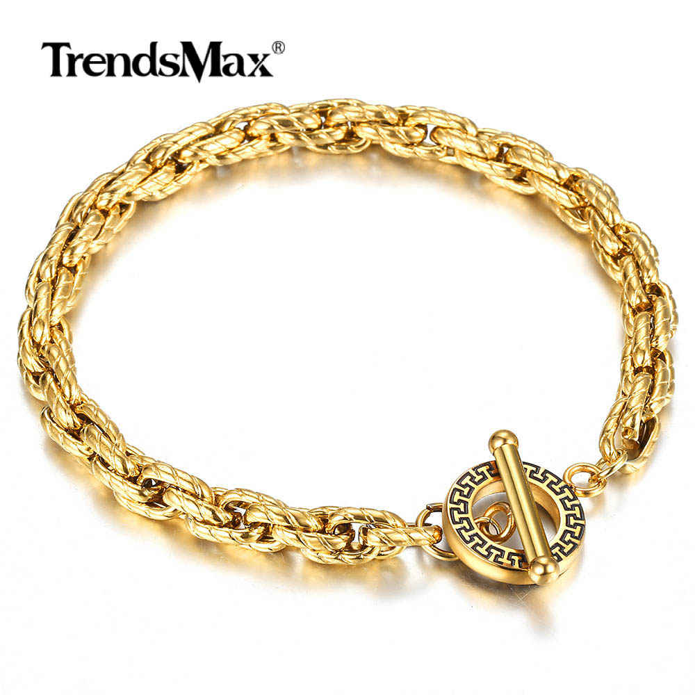 6mm Gold Filled Stainless Steel Bracelet For Men Women Twisted Cable Link Chain Toggle Unique Design Dropshipping Jewelry TBS012