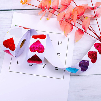 500pcs Heart Shape Labels Valentine's Day Paper Packaging Sticker Candy Dragee Bag Gift Box Packing Bag Wedding Thanks Stickers image