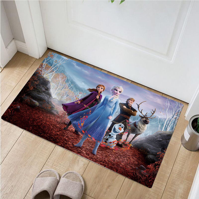 60*40cm Disney Frozen Outdoor Door Mat  Shaggy Water Absorption Bathroom Anna Elsa Mats Non-slip Kitchen Carpet
