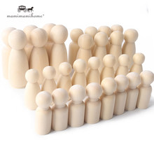 10 pçs 35/43/55/65mm peg bonecas crianças brinquedos diy sem pintura artesanal mini peg bonecas de madeira artesanal inacabado em branco