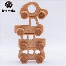 De coche de juguete de madera forma para bebés haya mordedor niños juego mental juguetes Artesanías hechas a mano regalo niño bloques juguetes cognitivos