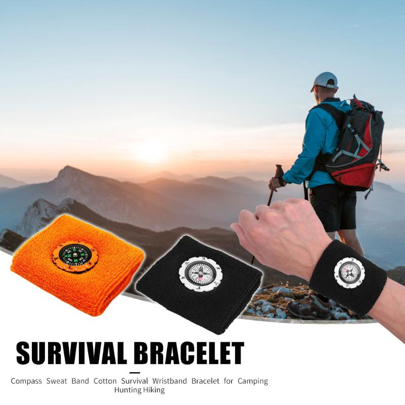 Durable Compass Fashion Sweat Band / Survival Wristband Bracelet for Outdoor Camping/Hunting/Hiking