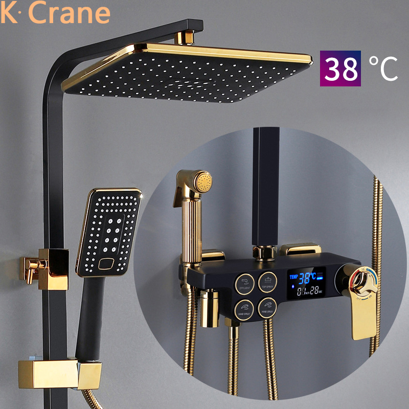 Hot Cold Shower System Bathroom LED Digital Shower Set Wall Mount Smart Thermostatic Bath Faucet Square Recommended Products Cards Carousel