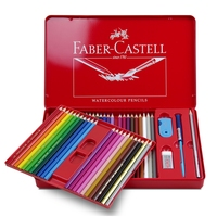 Faber Castell  Water Colored Pencil 24/36/48 Colors Tin Box 114468 Drawing Non toxic Pencils set for Artist Sketch Germany|box effect|box galleryboxed sets books -