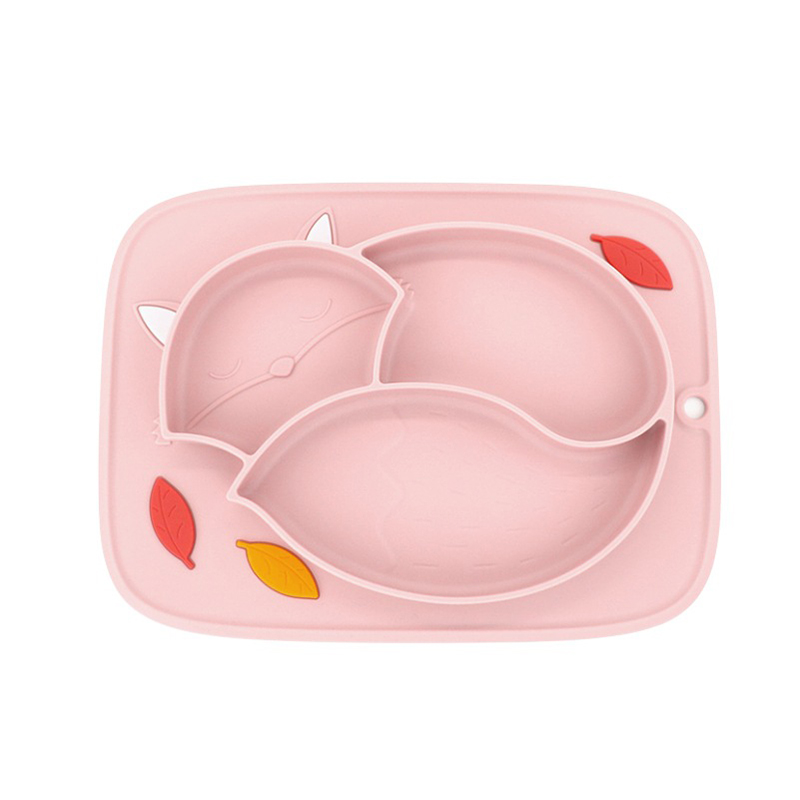 Baby Silicone Dish Suction Feeding Food Plate Toddlers Non-slip Divided Silica Gel Tableware Plate Feeding Container Placemat
