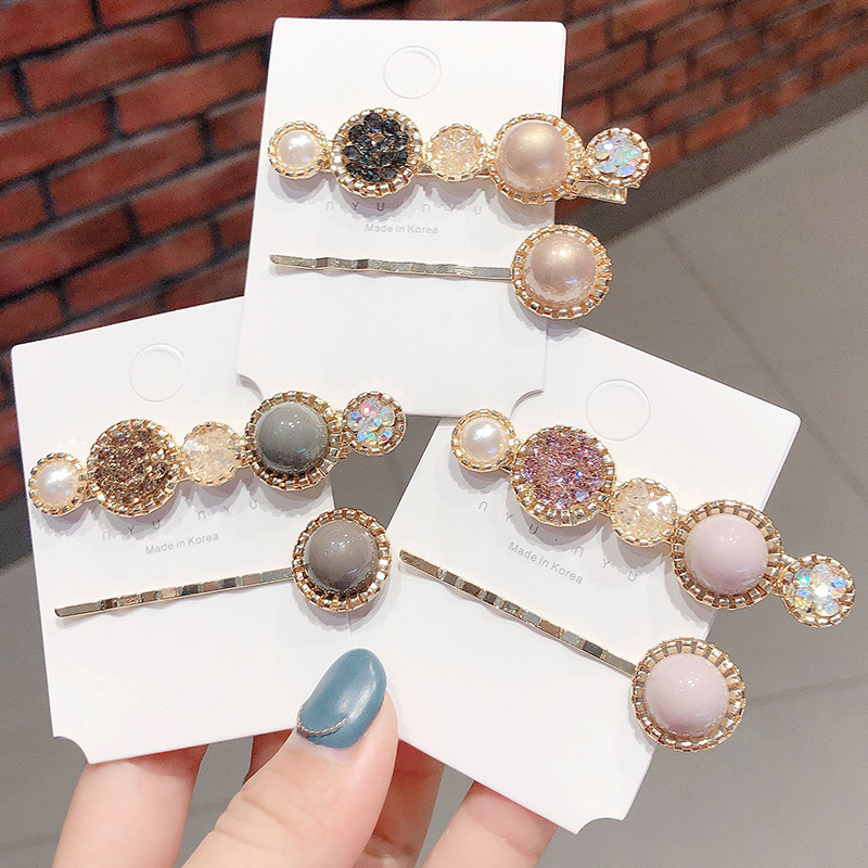 New Pearl Hair Clips For Women Fashion Crystal Hairclips Geometric Alloy Hairpins Bobby Pin Barrettes Hairgrips Hair Accessories