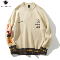 Aolamegs мужской свитер с принтом, пуловер Harajuku с вышивкой и круглым вырезом в стиле ретро, свитера в стиле хип-хоп, вязаная Осенняя уличная одеж...