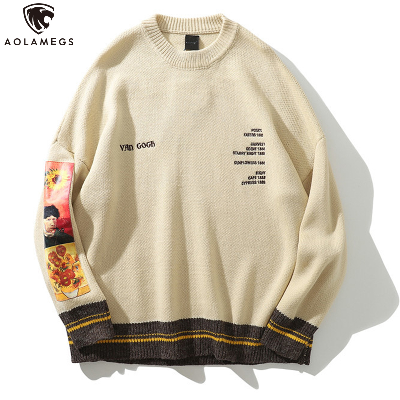 Aolamegs Sweater Men Painting Printed Patch Pullover Harajuku Embroidery O-neck Retro Sweaters Hip Hop Knitted Autumn Streetwear
