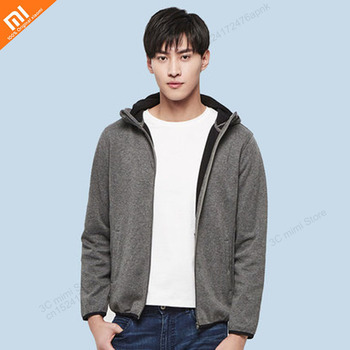 Xiaomi youpin cotton double velvet hit color new coat male spring and autumn hooded casual coat sweater smart home
