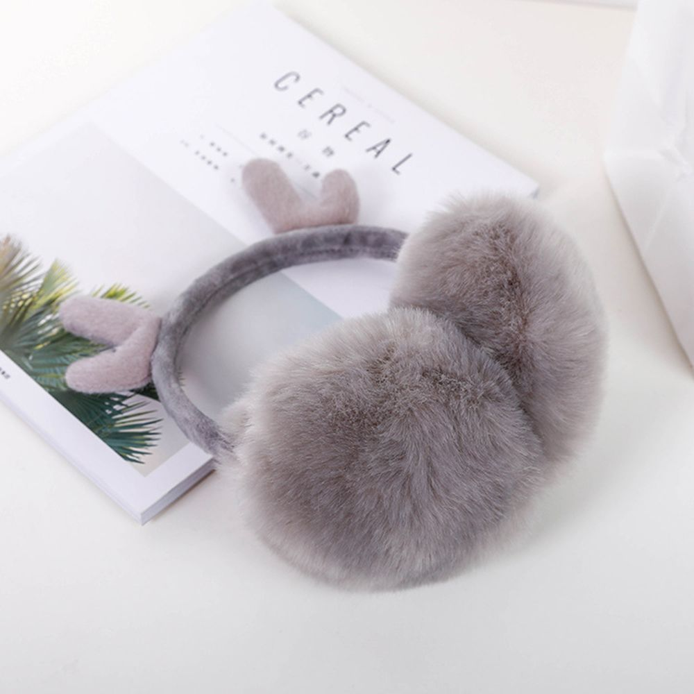 Women Earmuffs Novelty Cute Antlers Fur Winter Earmuffs For Girls Warm Earmuffs Ear Warmer Cover Ears Super Soft Plush Ear Muff