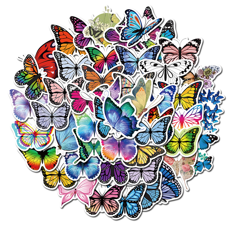 10/30/50pcs Pack Butterfly Stickers for Laptop Skateboard Guitar Stationery Stickers DIY Fridge Car Bottle Decals Kids Toys