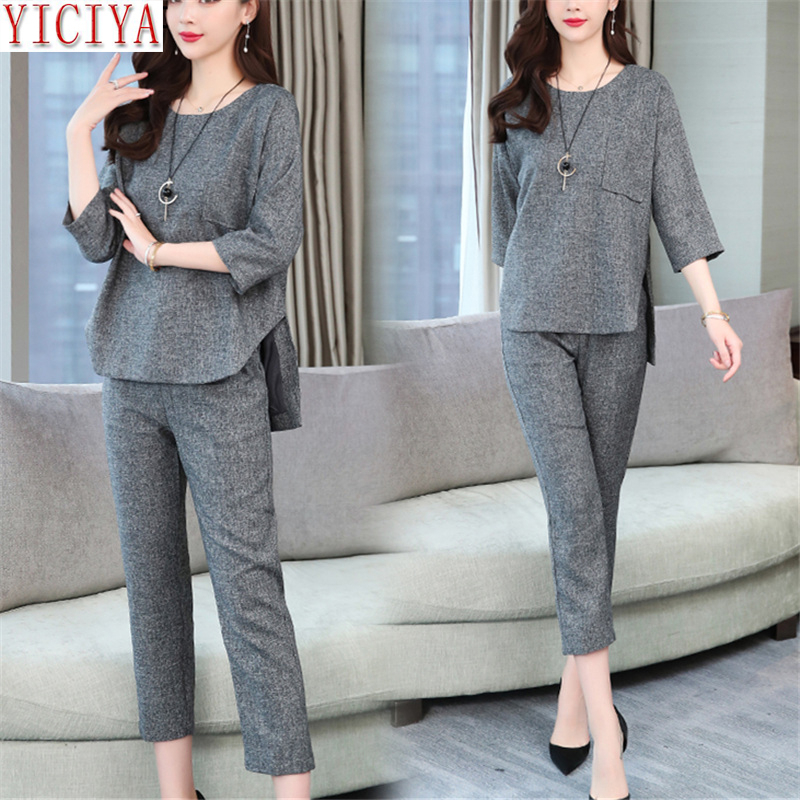 2020 Summer Two Piece Sets Women Outfits Grey Wine Red 3/4 Sleeve Tops And Wide Pants Suits Casual Office Elegant Women's Sets