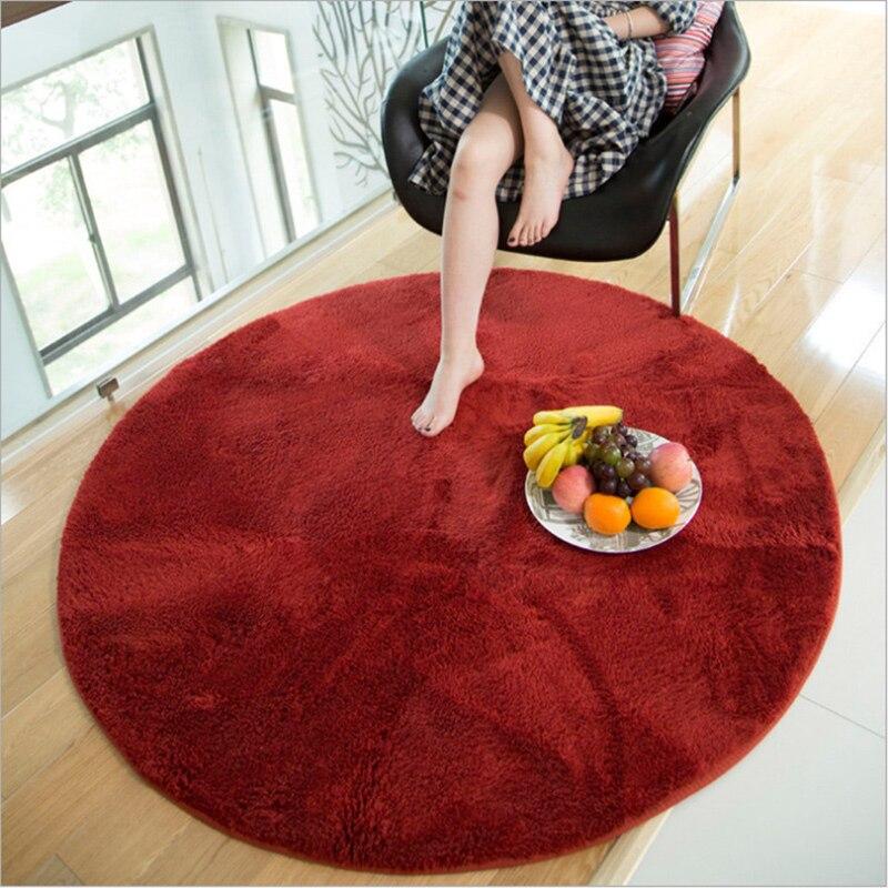Couleur unie tapis ronds salon chambre canapé pied Pad doux miel pêche en peluche tapis balcon Table basse tapis