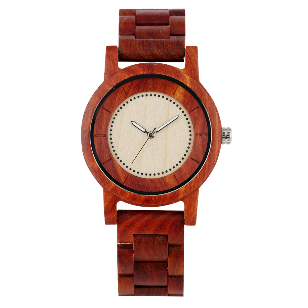 Wooden Watch Red Sandalwood White Dial Quartz Business Wood Watch Strap Wristwatch Xmas Gifts For Men Dad Montre Homme