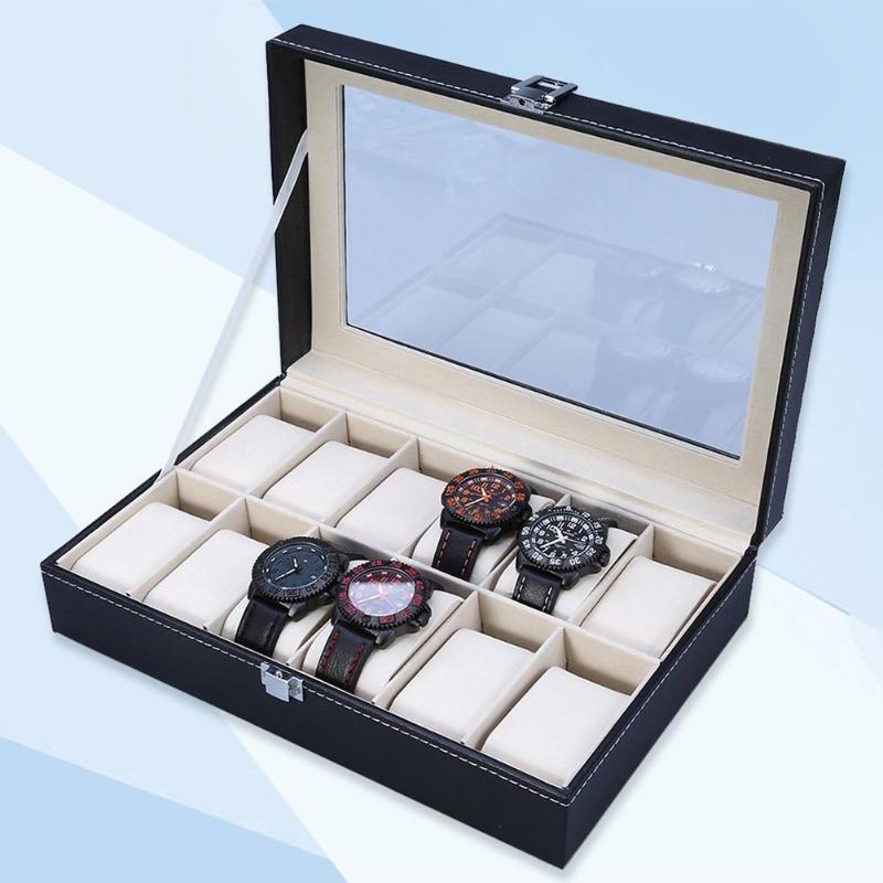 12 Slots Watch Box Convenient Light Watch Winder Jewelry Wrist Watches Case Holder Jewelry Bracelet Storage Case Organizer