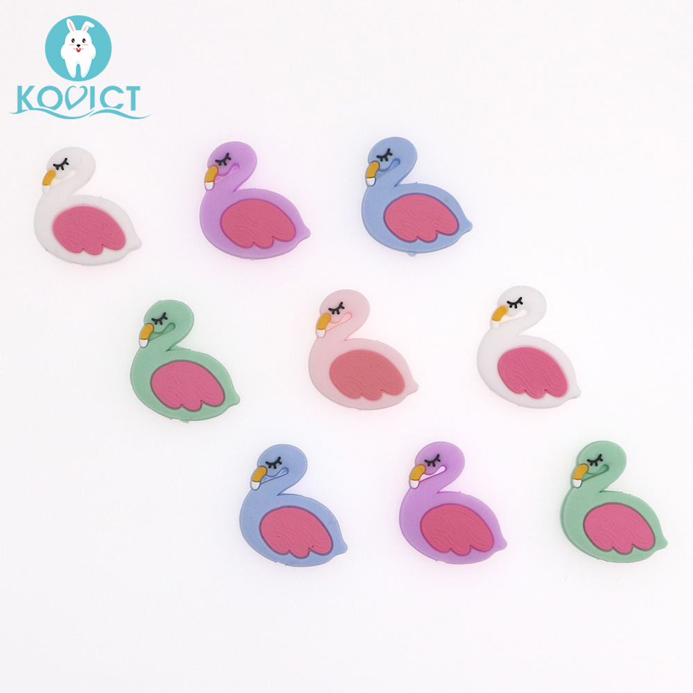 Kovict 5/10pcs 29mm Silicone Beads Flamingo Baby Silicone Teether Food Grade Rodents DIY Baby Teething Toys