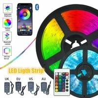 Tiras de luz LED de colores para fiesta, cinta luminosa para dormitorio, decoración, Bluetooth, Control infrarrojo, música, cadena de luces nocturnas