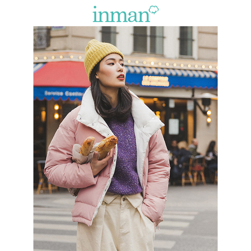 INMAN 2019 Winter New Arrival Fashion Contrast Color Drop-shoulder Sleeve Loose All Matched Solid Women Short Down Coat